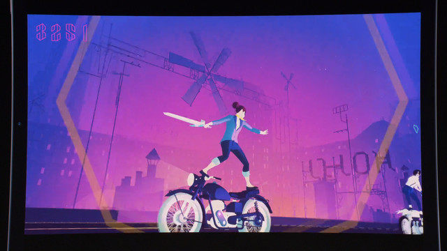 a woman holding a sword while standing on a motorcycle in Sayonara Wild Hearts