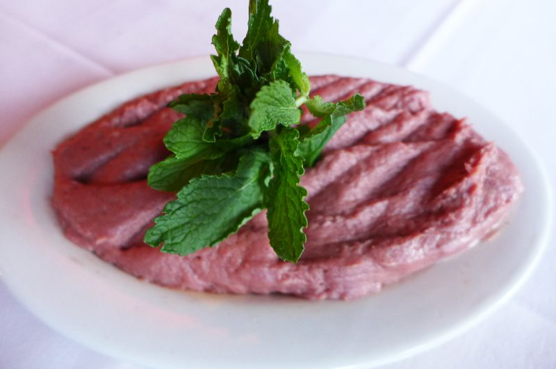 A plate of pureed raw beef.