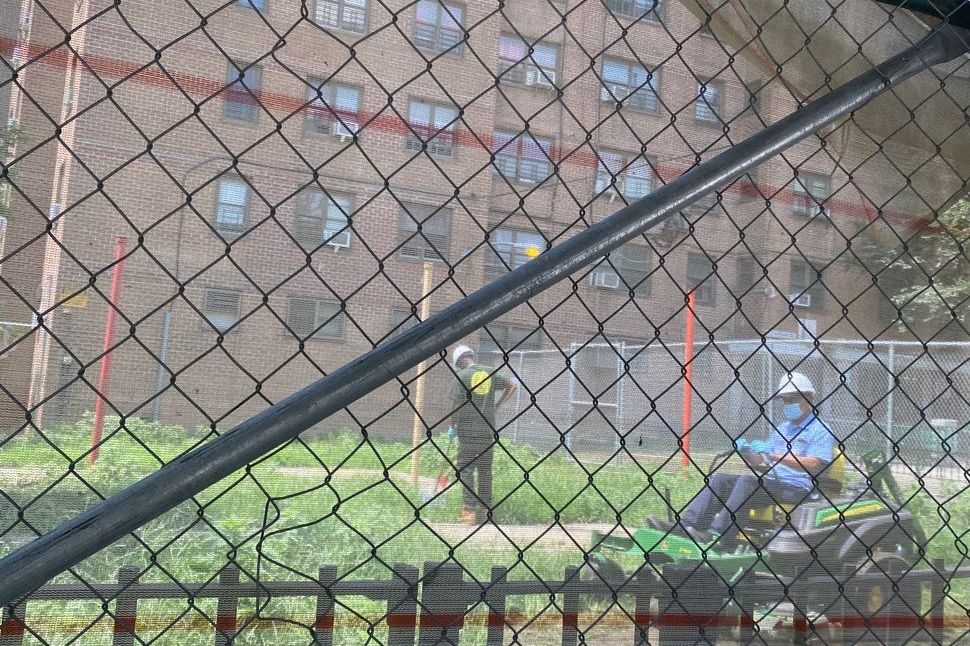 A playground at the Mitchel Houses in the South Bronx had just a few climbing poles, July 15, 2021.