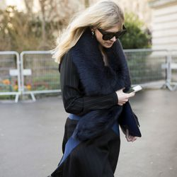 Fur-trimmed collars are a must at PFW.