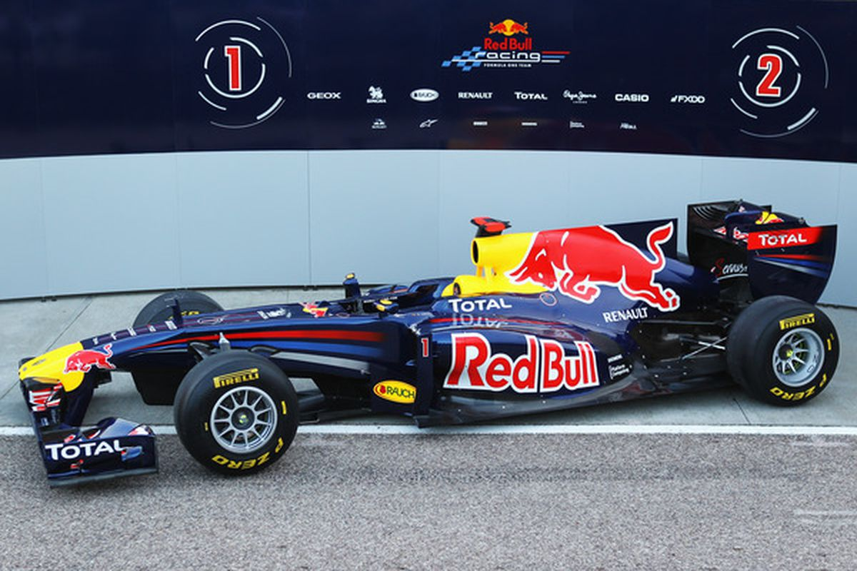 The championship-winning Red Bull F1 team.  (Photo by Paul Gilham/Getty Images)