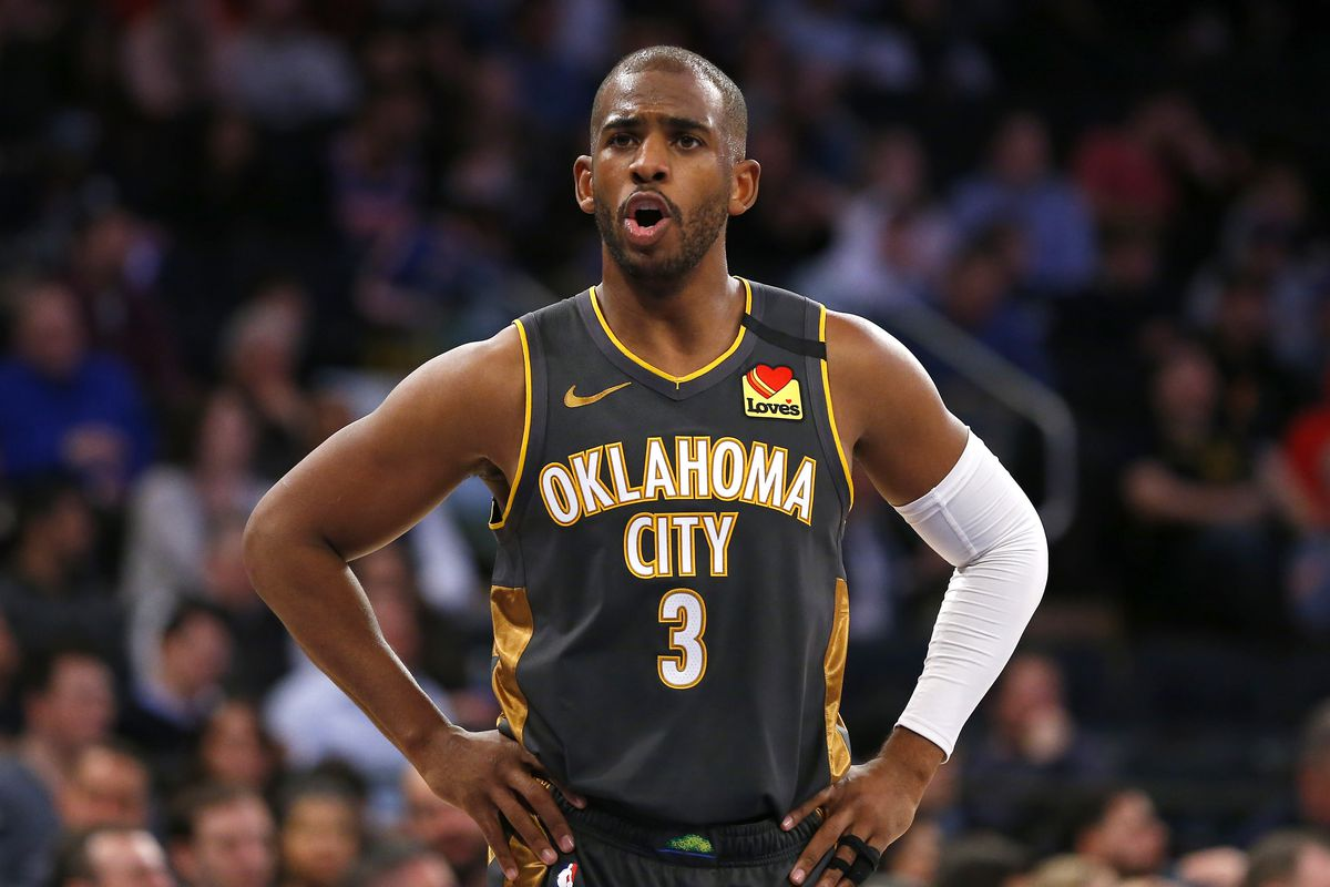 Oklahoma City Thunder guard Chris Paul reacts during the second half against the New York Knicks at Madison Square Garden.