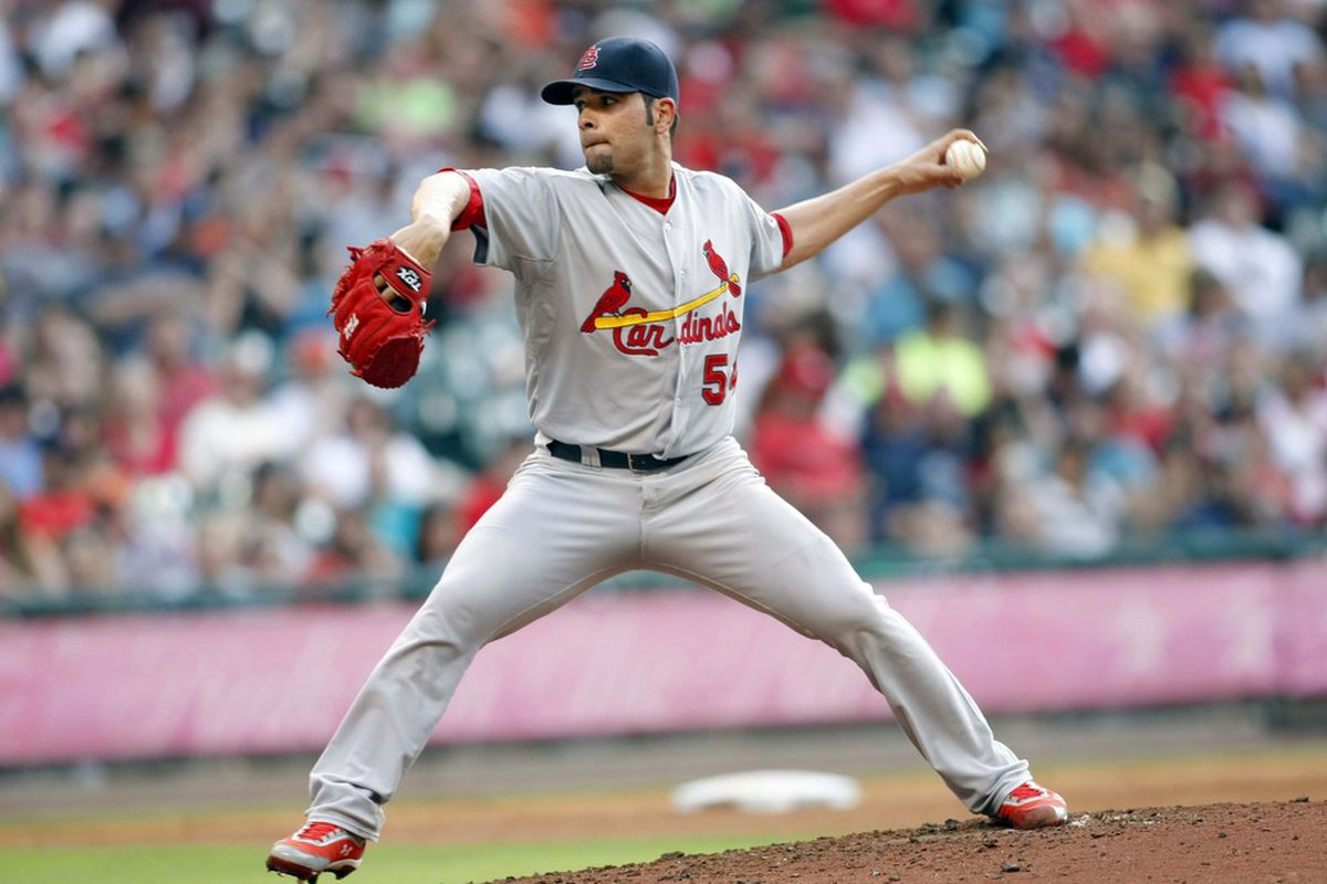 May 5, 2012; Houston, TX, USA; St. Louis Cardinals starting pitcher Jaime Garcia throws a pitch against the Houston Astros in the third inning at Minute Maid Park. Mandatory Credit: Brett Davis-US PRESSWIRE