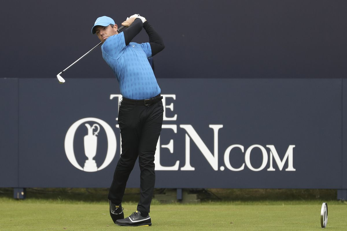 Rory McIlroy hits a tee shot during the first round of the 2019 British Open.
