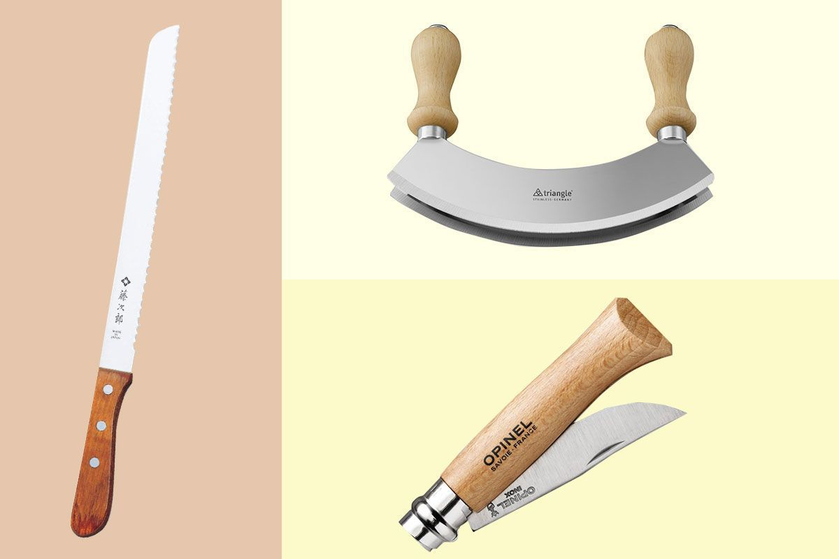 Three different knives on different backgrounds.