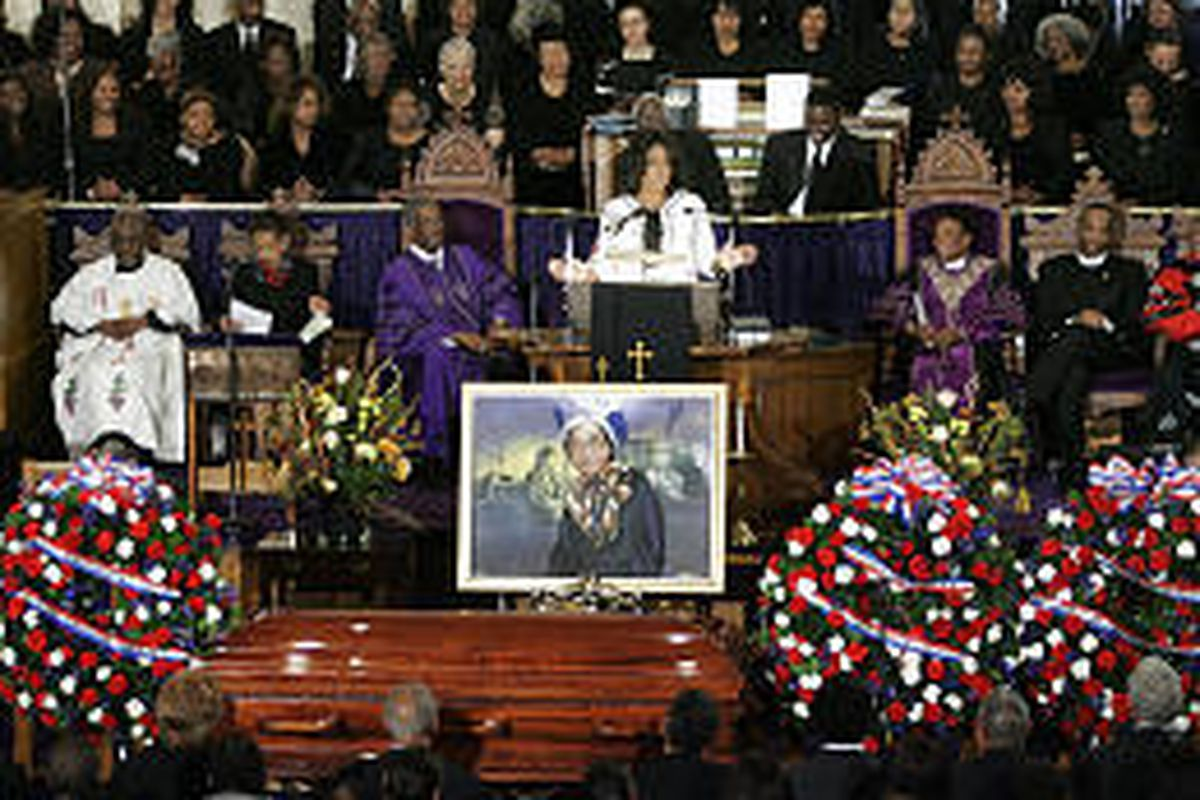 """""""I'm here to say a final thank you, Sister Rosa, for using your life to serve, serve us all,"""" Oprah Winfrey said in a service Monday."""