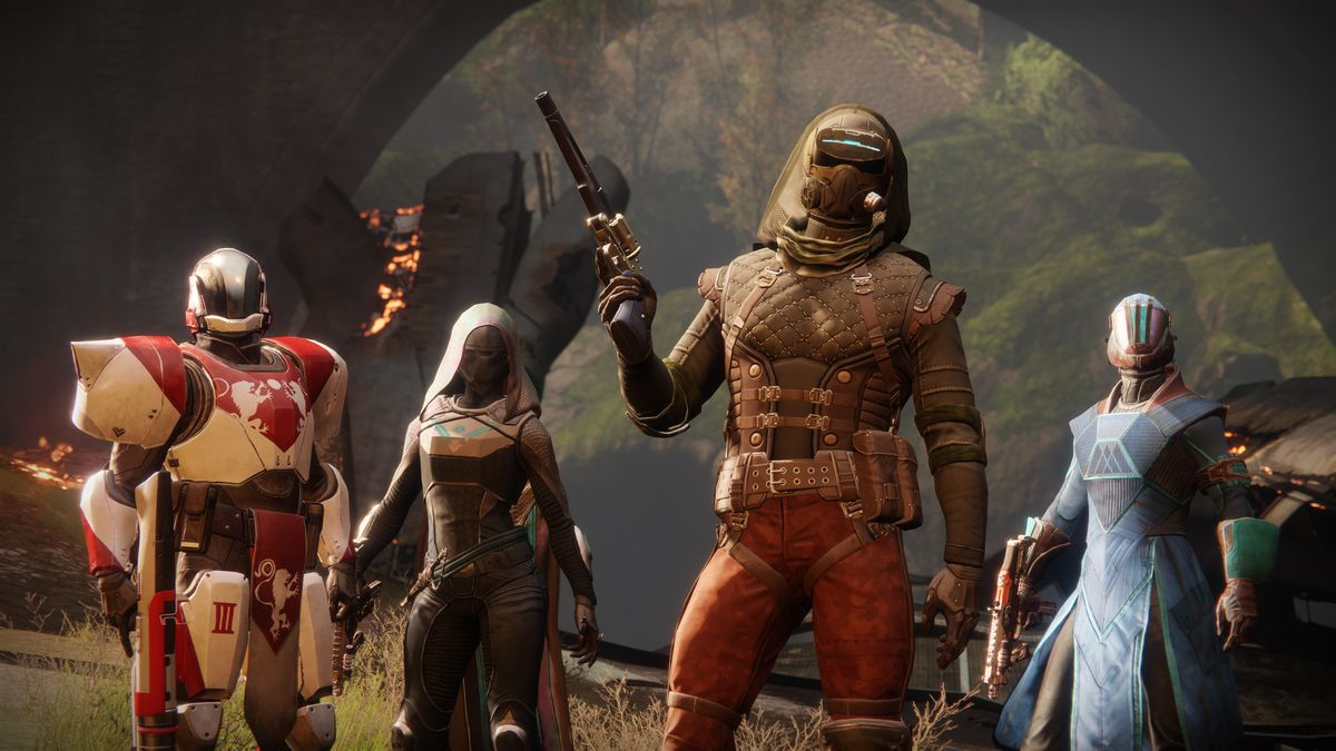 Destiny 2 - four Guardians standing in pre-match pose on The Fortress, a Crucible map