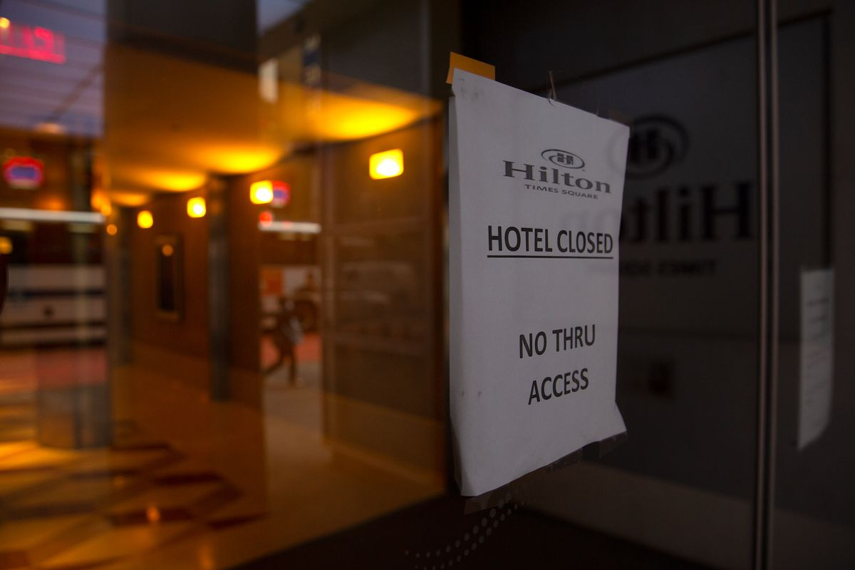 The Times Square Hilton was closed during the coronavirus outbreak, Sept. 29, 2020.