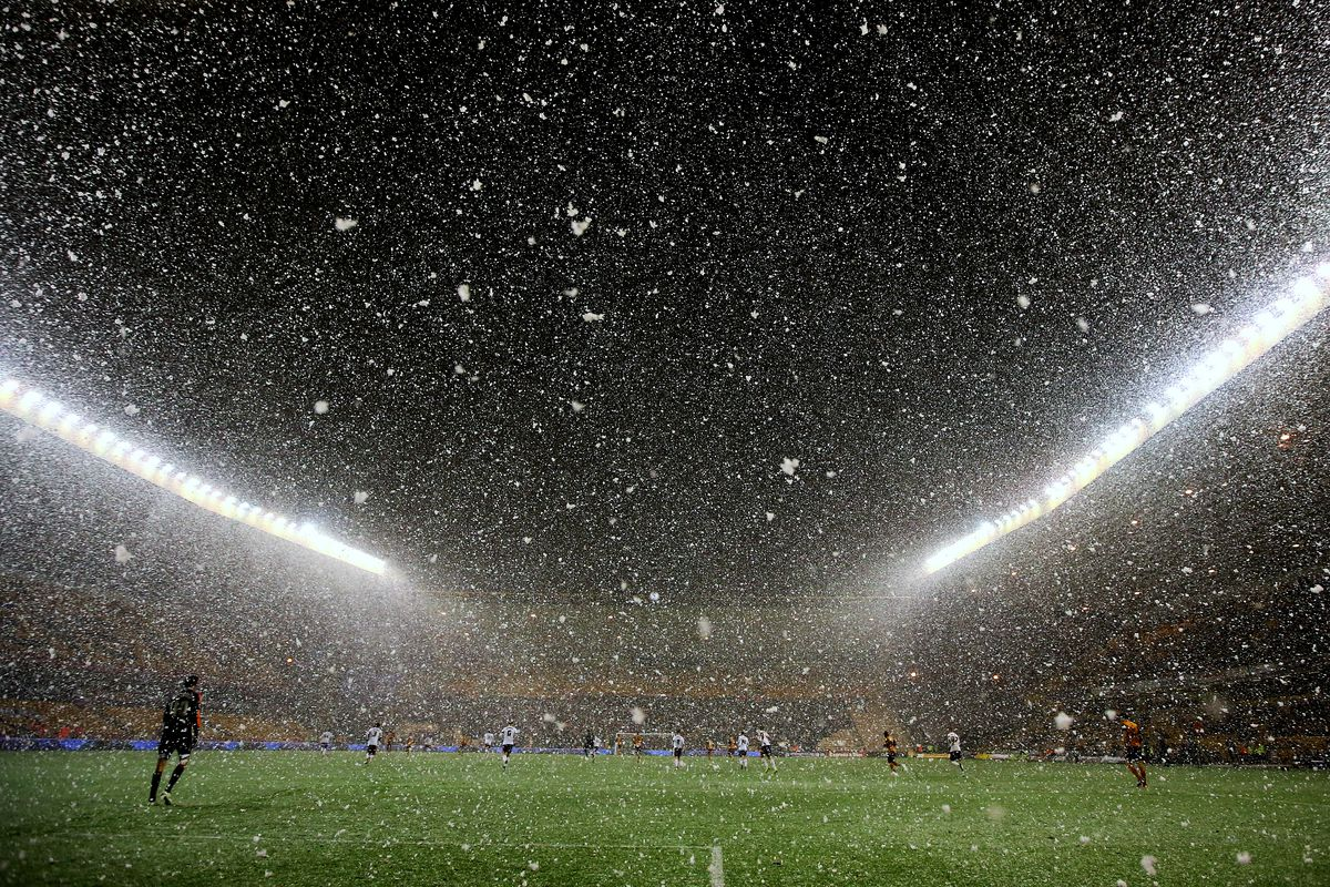 Snow falls at the Molineux Stadium during the 3rd round replay between Wolves and Fulham.