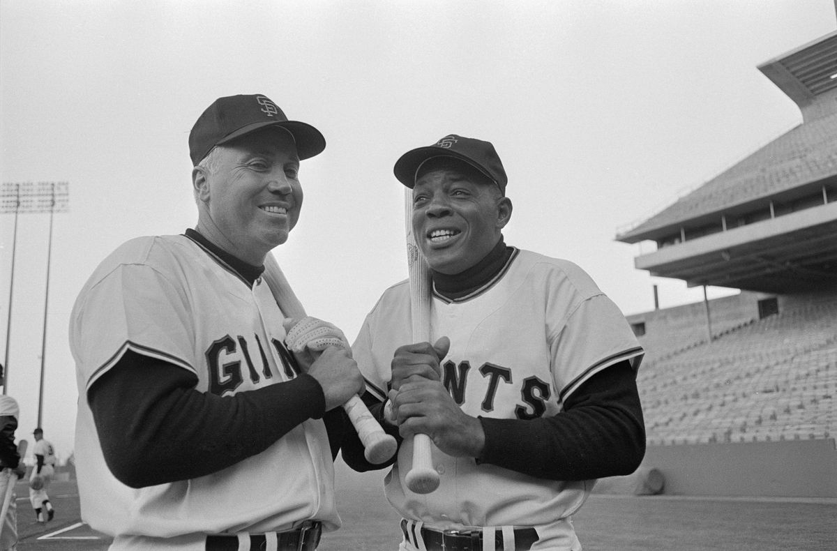 Willie Mays Posing with Duke Snider