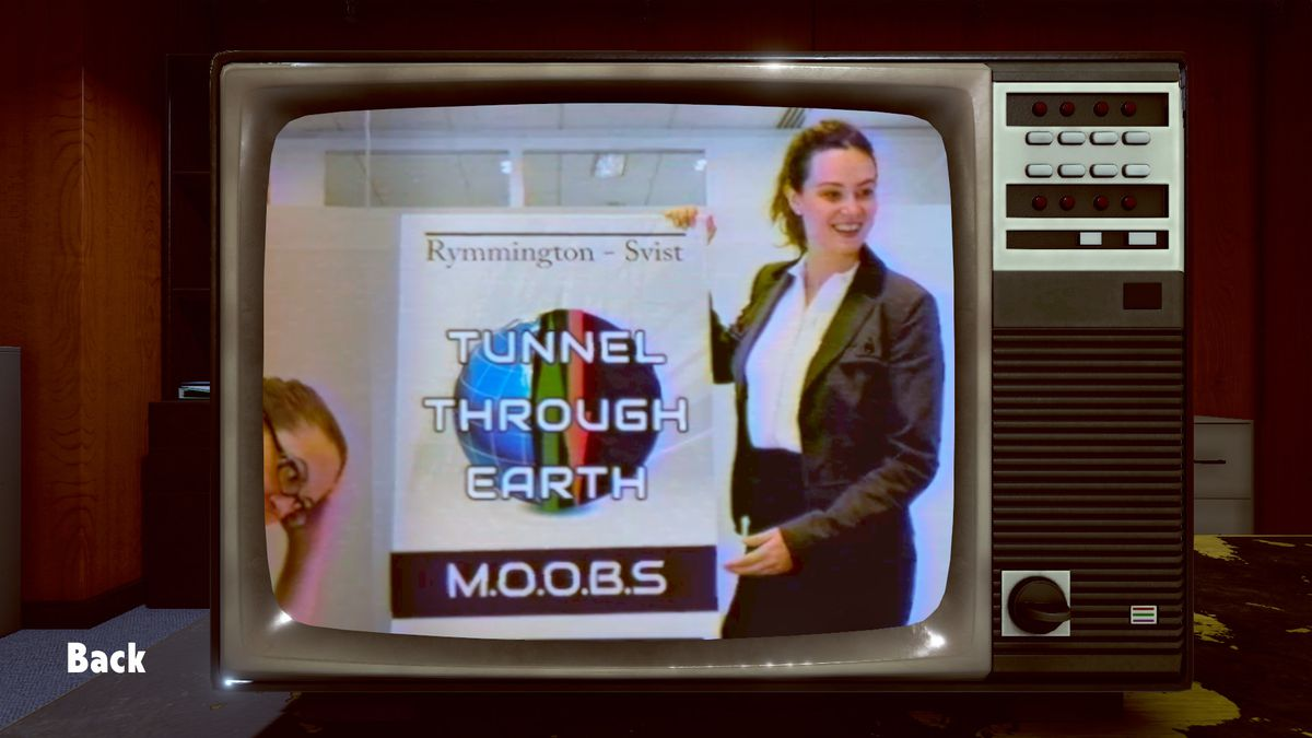 """an old-school CRT TV with a woman holding up a """"Tunnel Through Earth: M.O.O.B.S."""" sign in Not for Broadcast"""