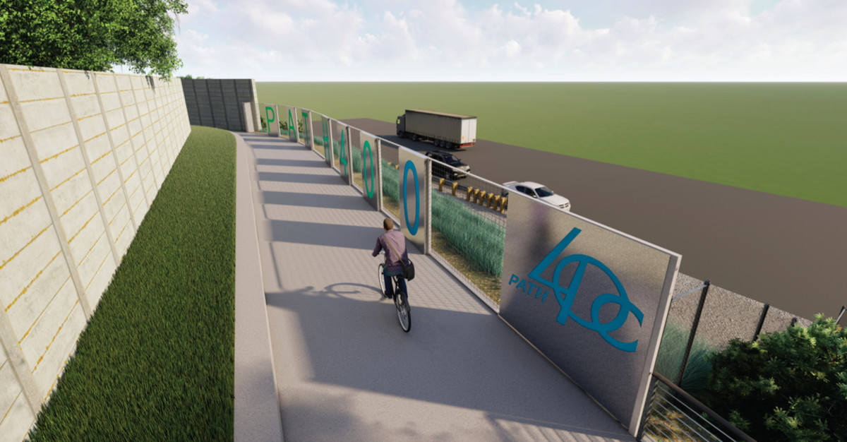 A rendering of a man on a bicycle on a paved path with a modern steel guardrail.