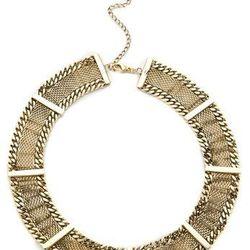 """<a href=""""http://www.shopbop.com/bar-mesh-chain-collar-fortune/vp/v=1/845524441941548.htm?folderID=2534374302029428&fm=whatsnew-shopbysize&colorId=11739"""">Fortune Favors the Brave mesh chain collar</a>, $280"""