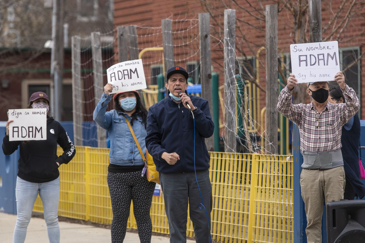 Protesters gathered Monday, April 5, 2021 outside New Life Church in Little Village, where Mayor Lori Lightfoot and CPD Supt. David Brown held a news conference to discuss the fatal shooting of Adam Toledo.