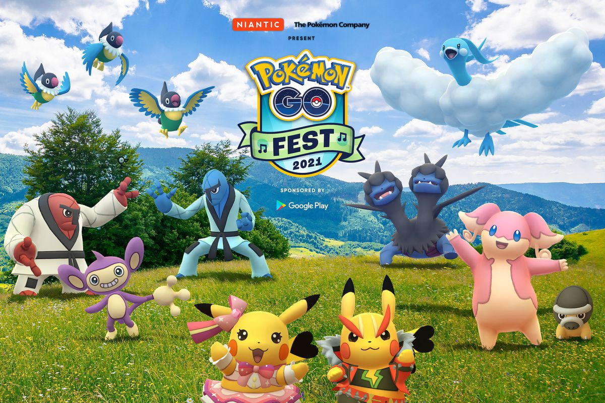 Artwork for Pokémon Go Fest 2021, featuring Pikachu Rock Star, Pikachu Pop Star, Audino, Throh, Sawk, Chatot, and more.