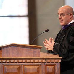 Elder L. Whitney Clayton gives his commencement address at the LDS Business College's 126th commencement ceremony in the Tabernacle on Temple Square in Salt Lake City on Friday, April 12, 2013.