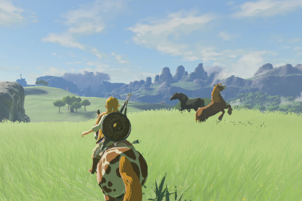 The Legend of Zelda: Breath of the Wild - Link on horseback riding toward two horses