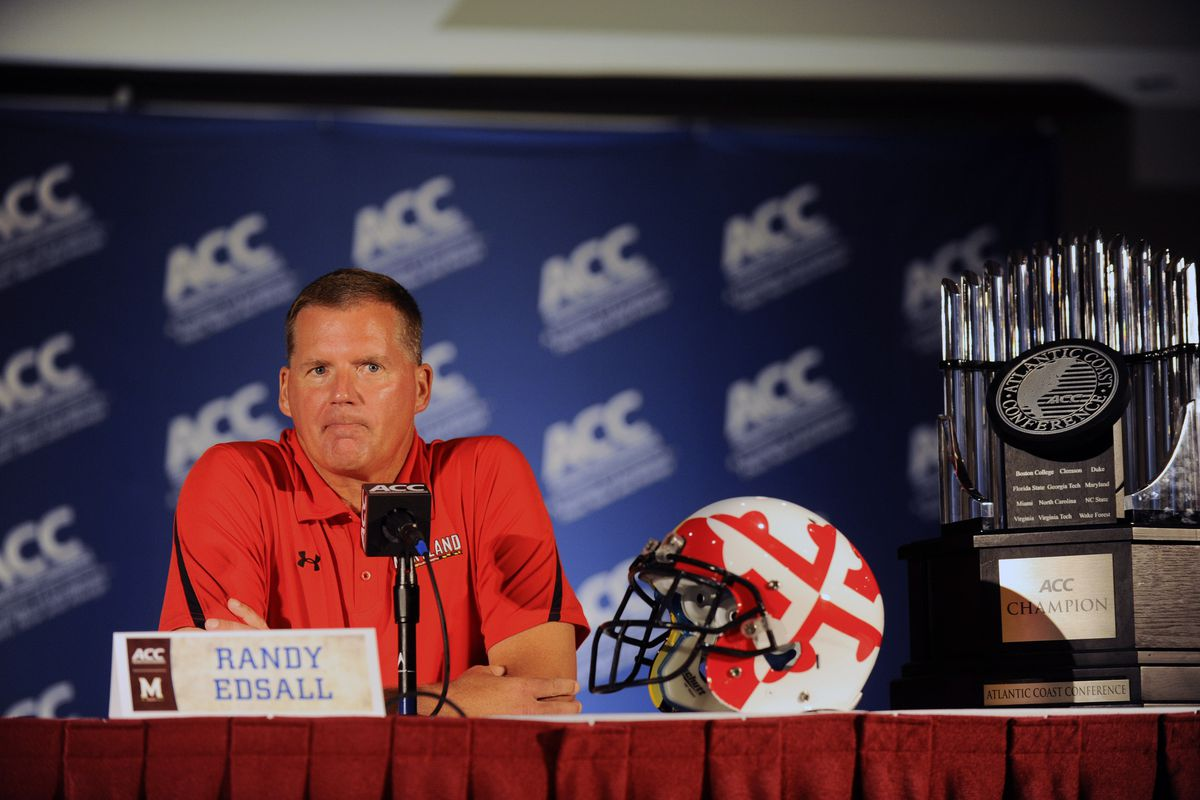 July 23, 2012; Greensboro, NC, USA; Maryland Terrapins head football coach Randy Edsall talks to reporters during the ACC media day at the Grandover Resort in Greensboro NC. Mandatory Credit: Sam Sharpe-US PRESSWIRE