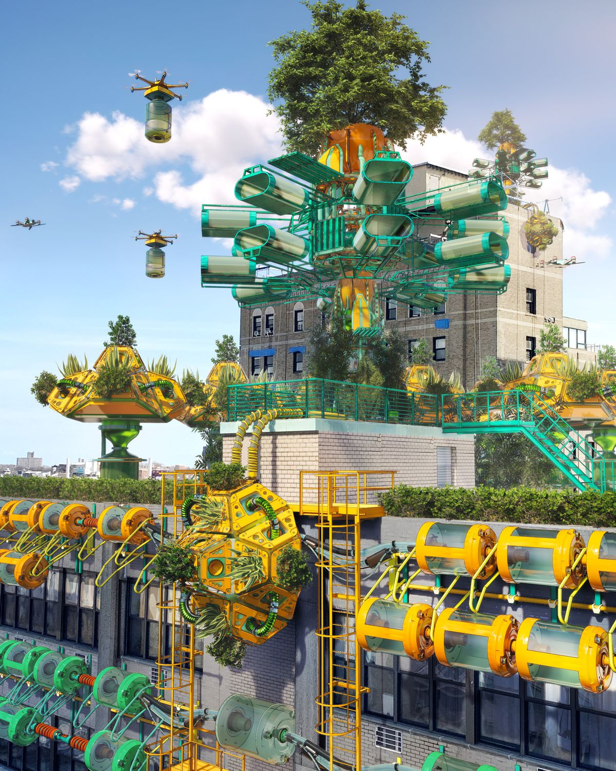A rendering showing drones carrying canisters, a vertical farm, and futuristic infrastructure