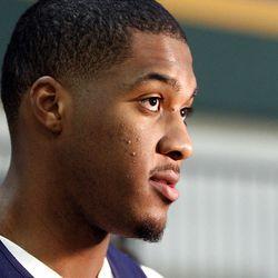 Derrick Favors, of the Utah Jazz, talks with the media in Salt Lake City, Monday, April 30, 2012.