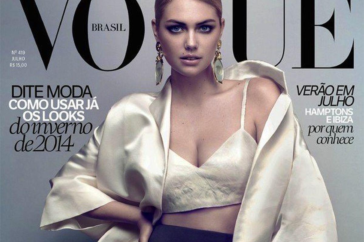 "Image via <a href=""http://www.fashiongonerogue.com/kate-upton-models-miu-miu-on-vogue-brazil-july-2013-cover/"">Fashion Gone Rogue</a>"