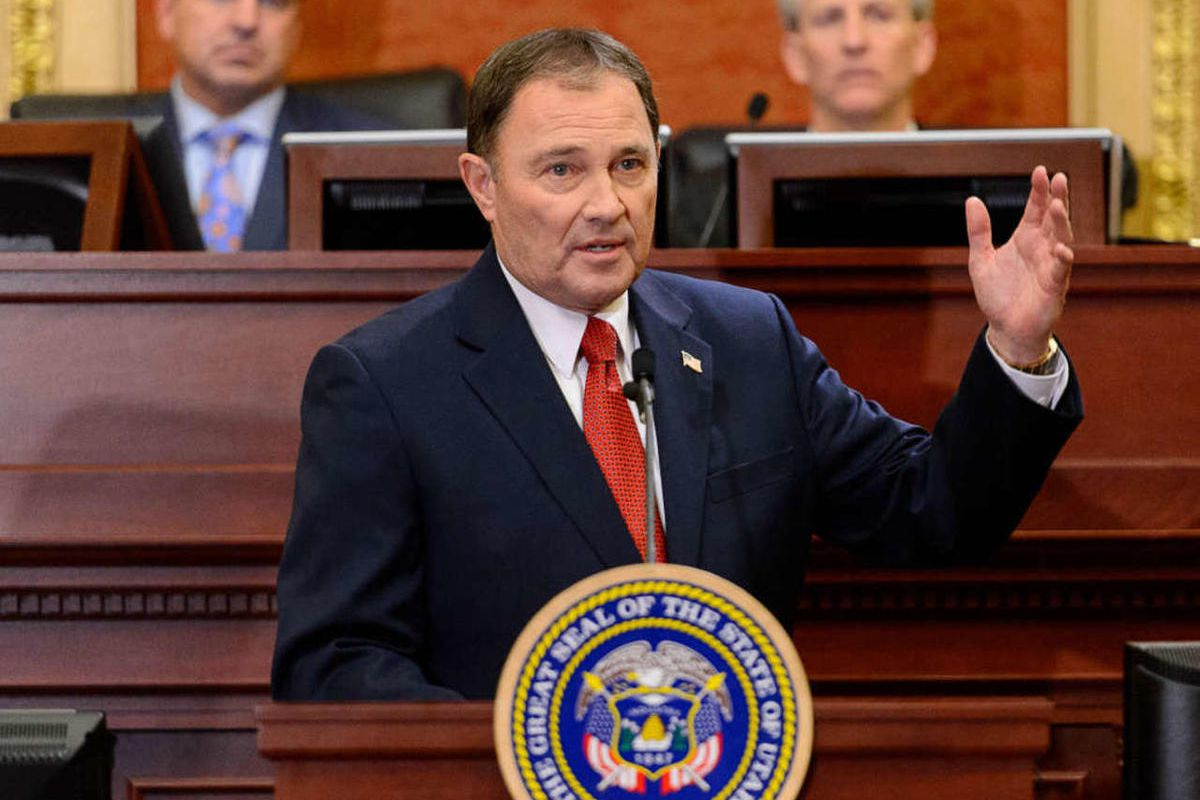 Governor Gary Herbert delivers the state of the state address at the state capitol building in Salt Lake City, Tuesday January 27, 2015.