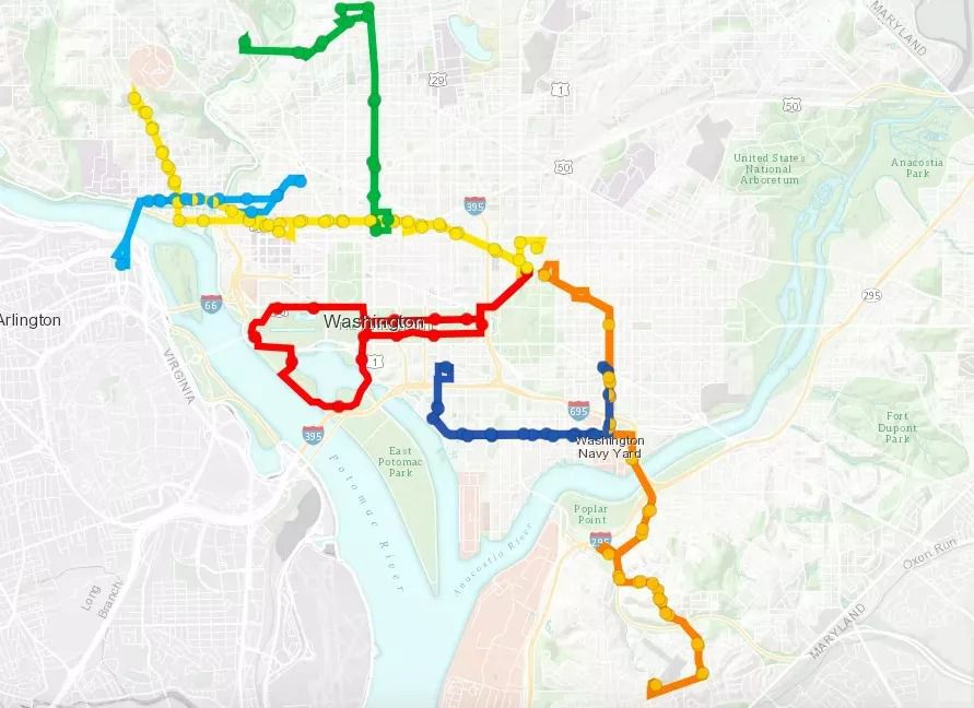 Six bus routes shown on a city map, with the routes depicted in different colors.
