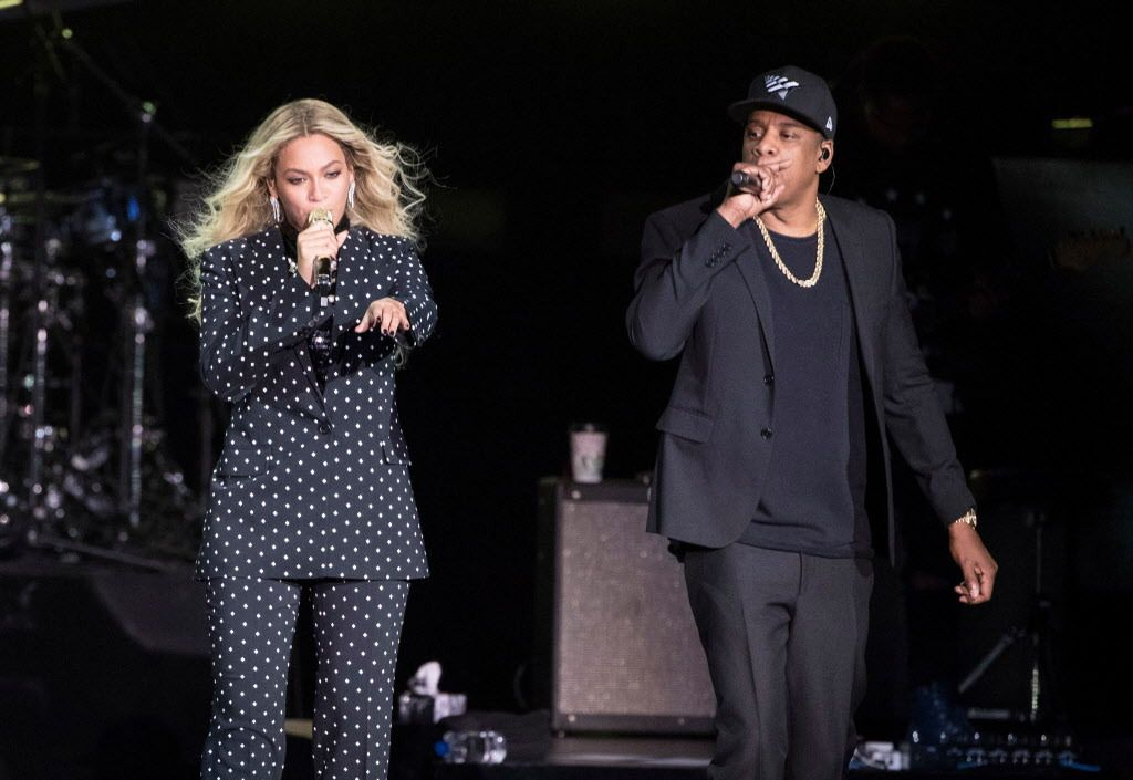 In this Nov. 4, 2016 file photo, Beyonce, center, and Jay-Z perform during a Democratic presidential candidate Hillary Clinton campaign rally in Cleveland. | AP Photo/Matt Rourke, File