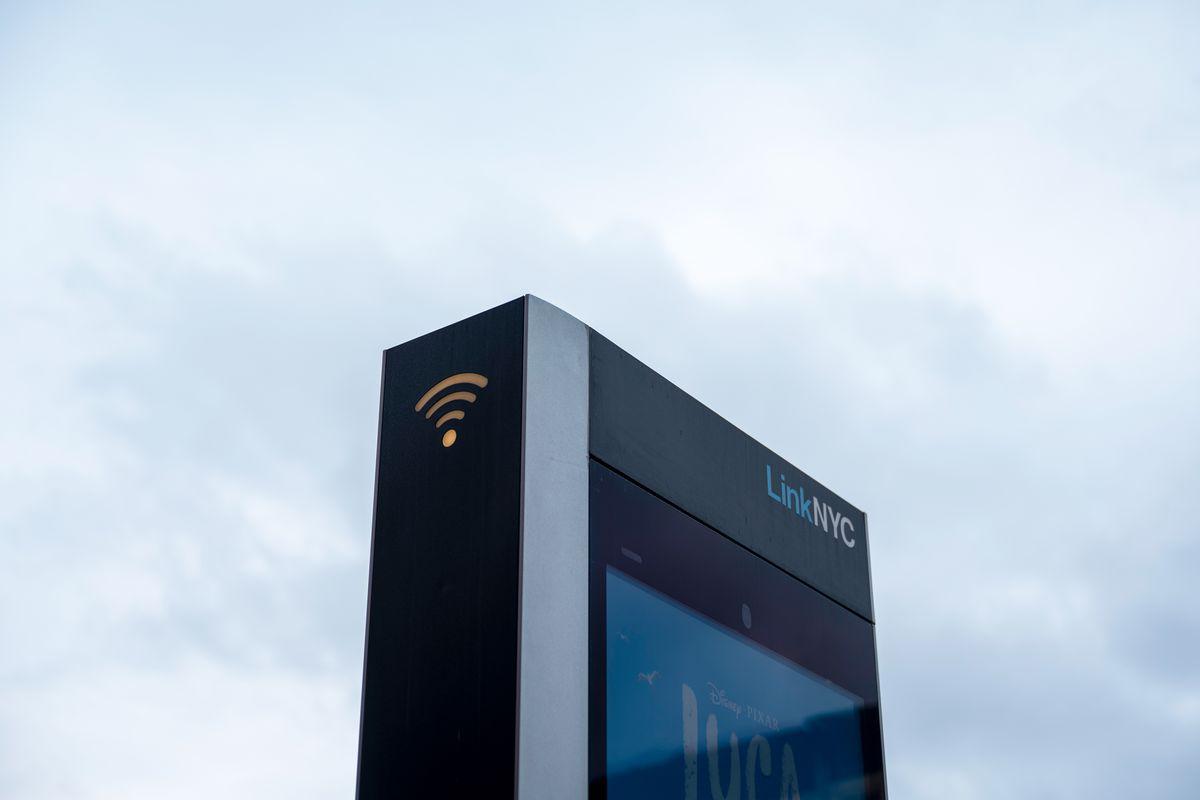 A LinkNYC kiosk offers wifi in Greenwood Heights, Brooklyn, June 11, 2021.