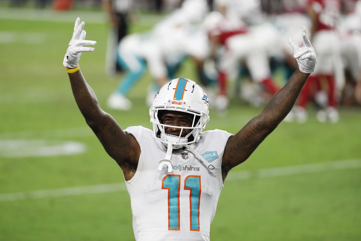 DeVante Parker #11 of the Miami Dolphins reacts during the second half against the Arizona Cardinals at State Farm Stadium on November 08, 2020 in Glendale, Arizona. The Miami Dolphins won 34-31.