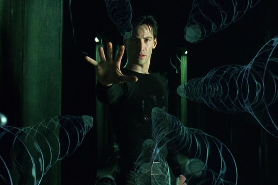 Neo stops the bullets coming for him.