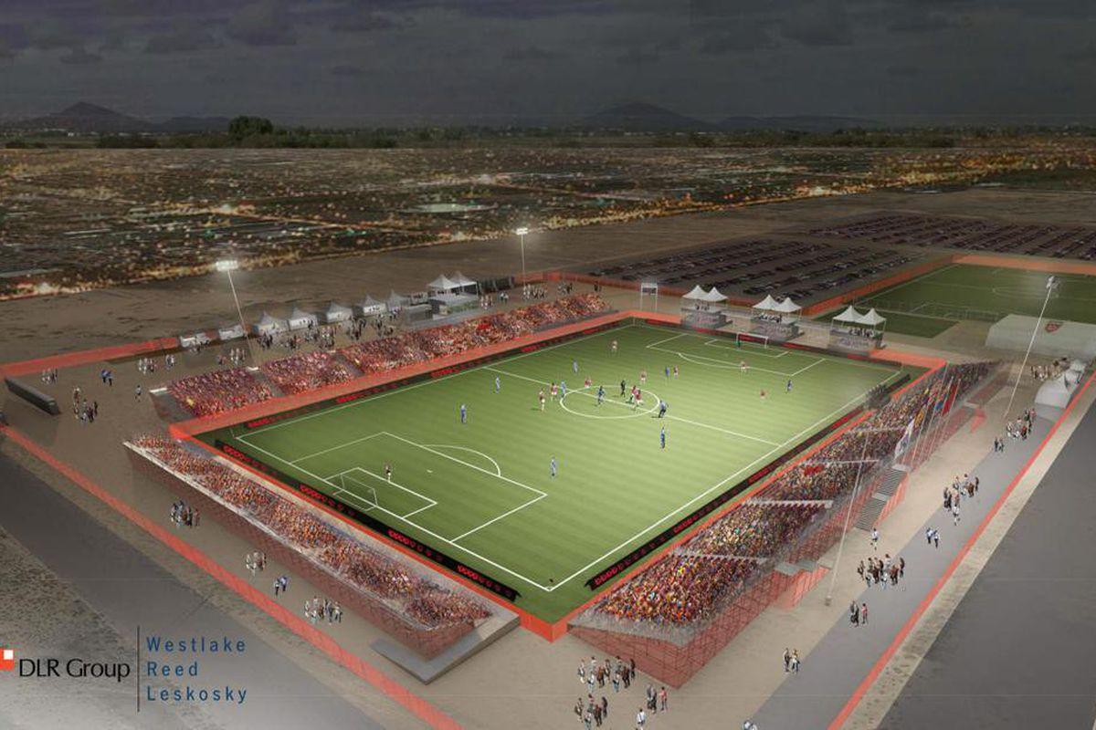 The temporary 6,000 seat stadium for Phoenix Rising FC
