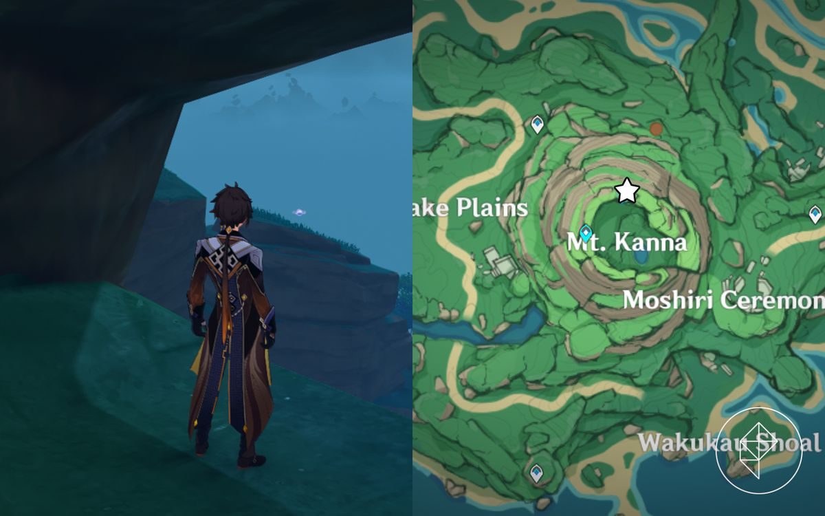 Zhongli stares at a Electro Seelie far in the distance on Mt. Kanna, careful not to disturb it.