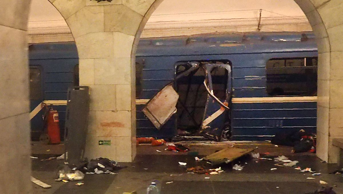 A picture shows the damaged train carriage at Technological Institute metro station in Saint Petersburg on April 3, 2017. Around 10 people were feared dead and dozens injured Monday after an explosion rocked the metro system in Russia's second city Saint
