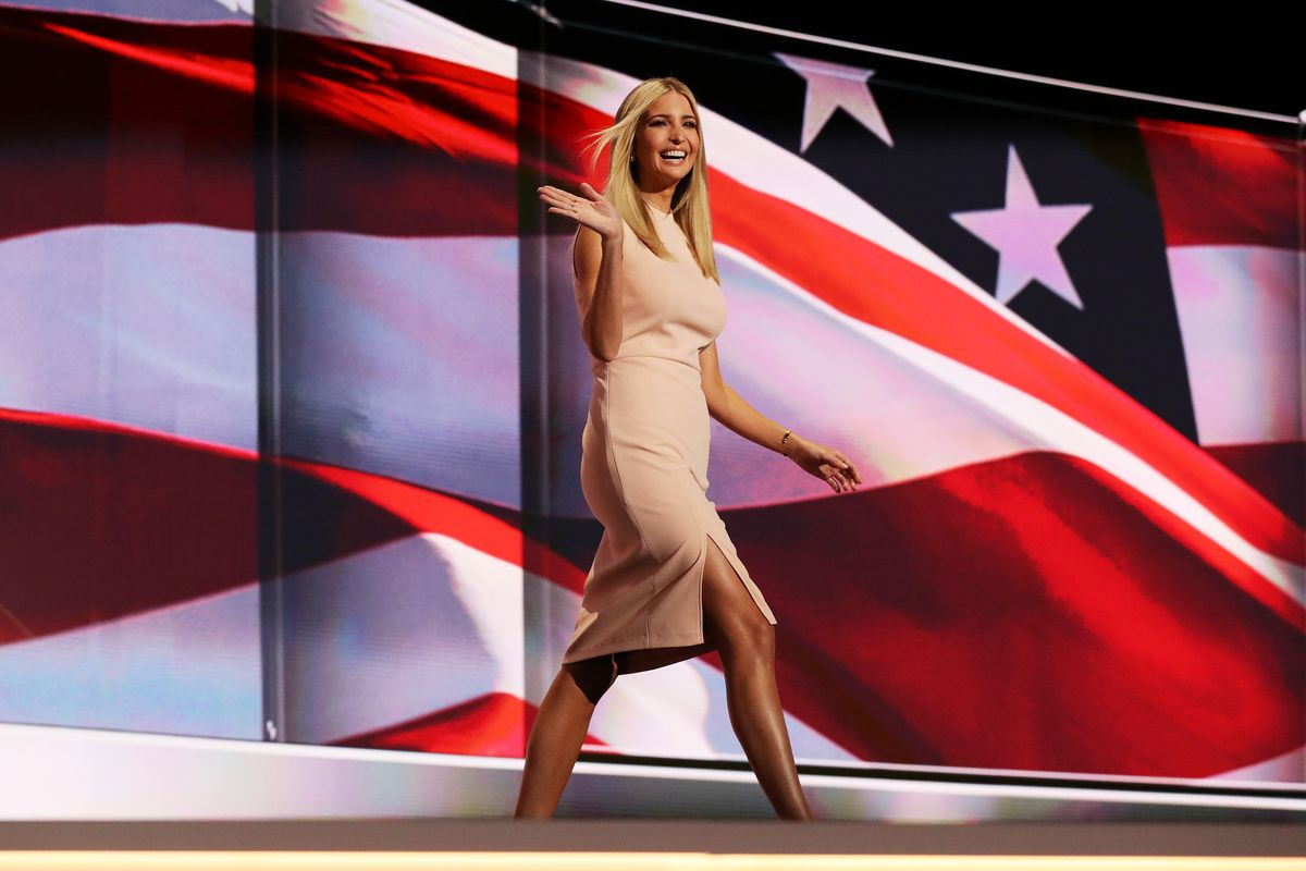 Ivanka Trump walks onto the stage at the Republican National Convention.