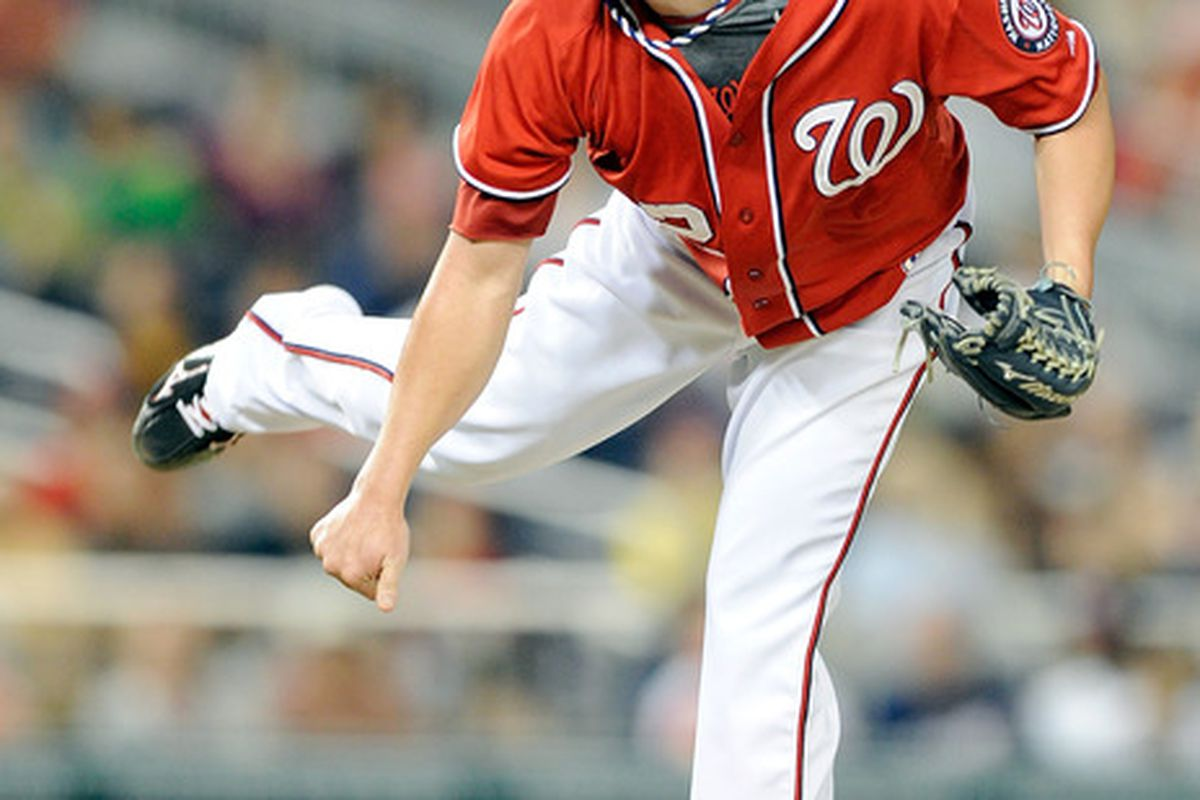 WASHINGTON, DC - JULY 02:  Drew Storen #22 of the Washington Nationals pitches against the Pittsburgh Pirates at Nationals Park on July 2, 2011 in Washington, DC. The Nationals won the game 4-3.  (Photo by Greg Fiume/Getty Images)