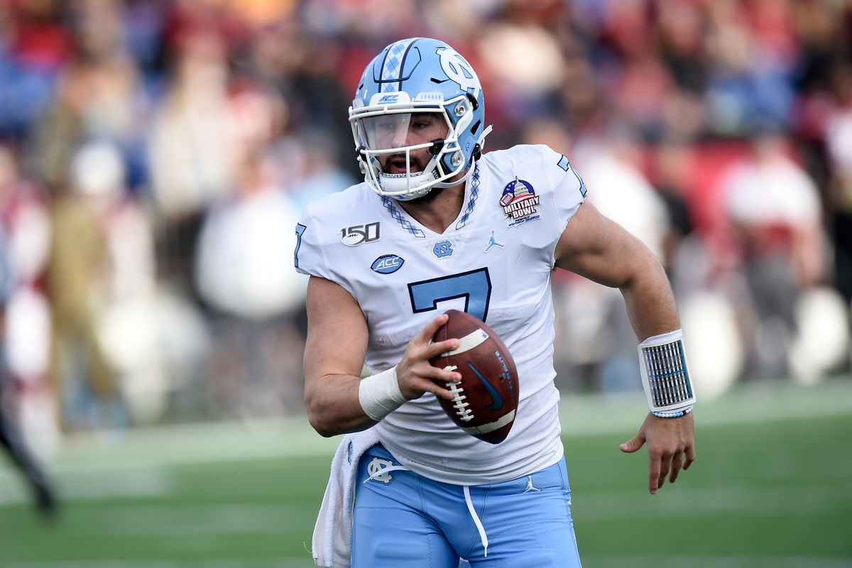 Sam Howell of the North Carolina Tar Heels rushes the ball against the Temple Owls in the Military Bowl Presented by Northrop Grumman at Navy-Marine Corps Memorial Stadium on December 27, 2019 in Annapolis, Maryland.