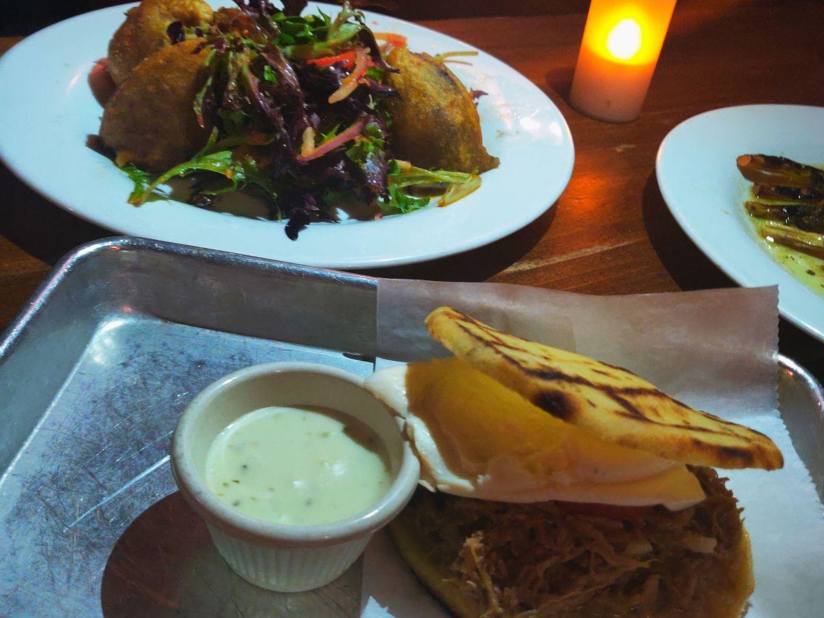 An arepa and empanadas from Orinoco