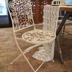 """Element 3: Found Objects.""""Reuse items from your home, like these wrought iron garden chairs we had here at HQ."""""""