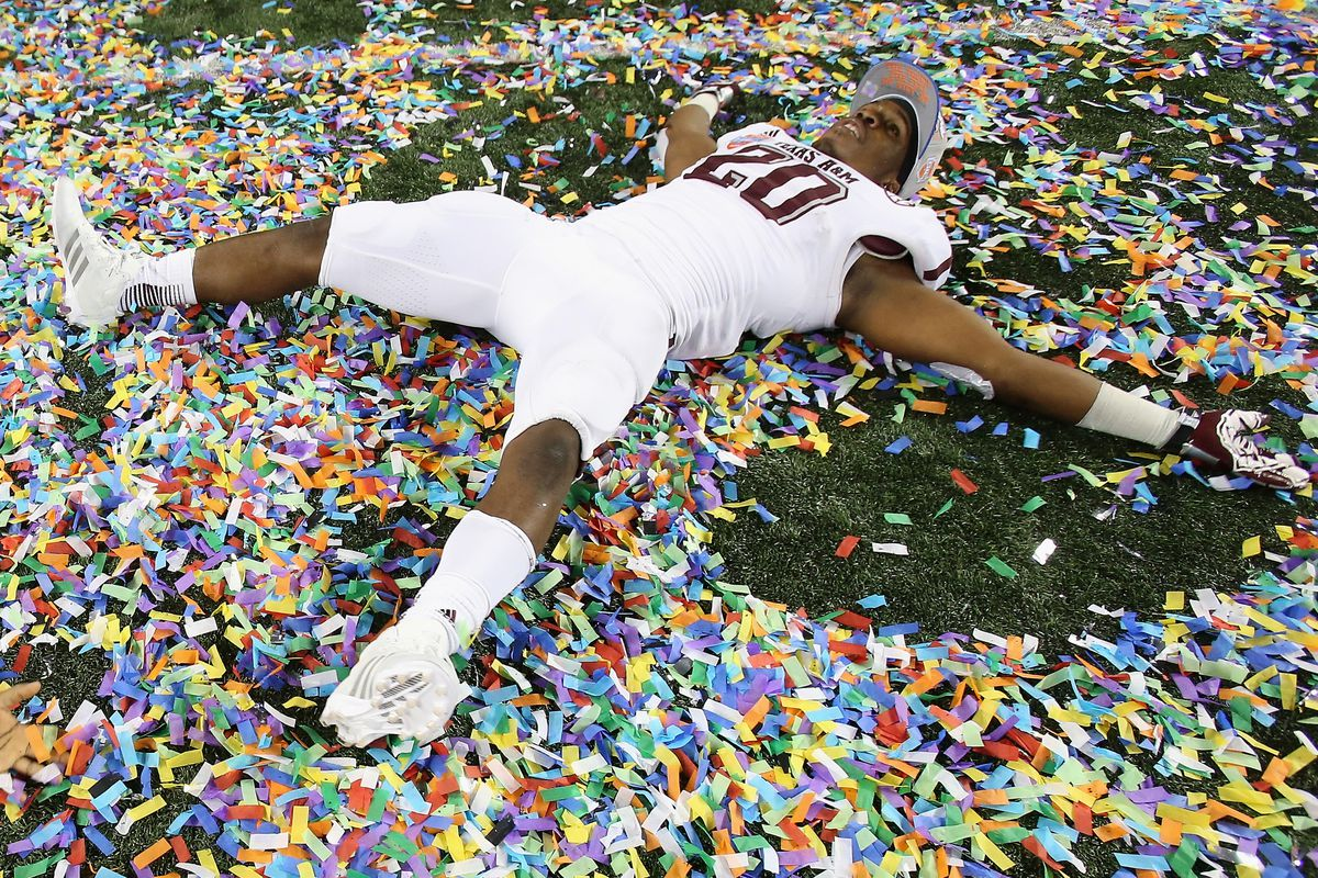 Three days till Aggie Football.  New #3 Trey Williams is so excited he is making a confetti angel.