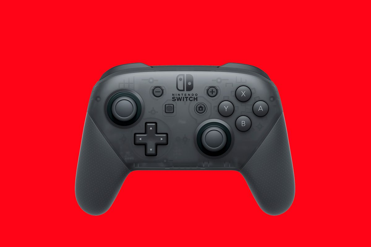 Product shot of the Nintendo Switch Pro Controller on a red background
