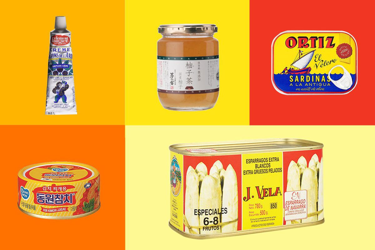 A photo-illustration of five canned pantry products