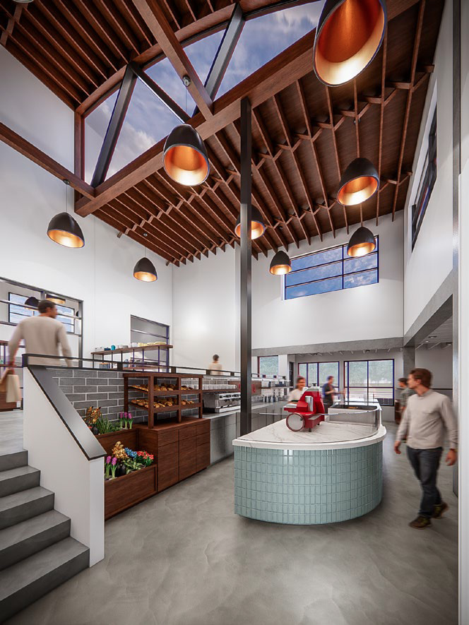 Rendering looking toward the entrance of Capella Cheese in northeast Atlanta at the blue-tiled ordering counter with a red slicing machine as a person in a white shirt and black pants walks by. five stairs lead up to another part of the shop