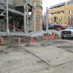 Another view of the dirt camouflaged steel plates on Sheffield behind center field