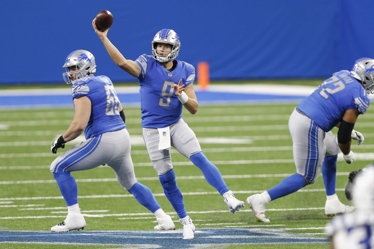 Detroit Lions quarterback Matthew Stafford passes the ball during the third quarter against the Indianapolis Colts at Ford Field.