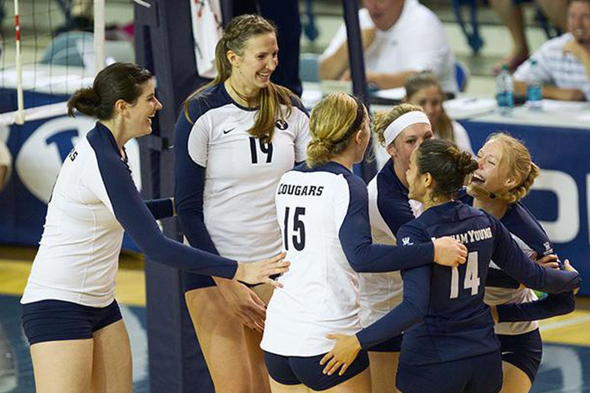 BYU players celebrate after upsetting Florida State