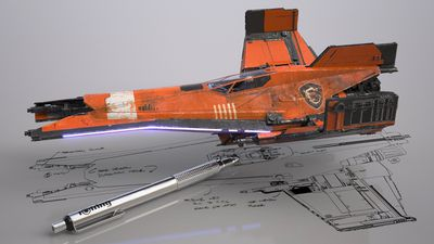 A model spaceship on top of a drawn diagram, with a silver pen next to it.