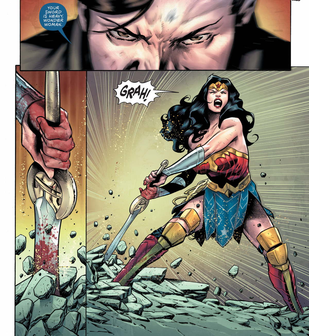 """""""Your sword is heavy, Wonder Woman,"""" says Max Lord, using his mind control powers. Wonder Woman's sword slams into the marble floor hard enough to burst it. """"GRAH!"""" she yells, as she lifts it anyway, in Wonder Woman #767, DC Comics (2020)."""