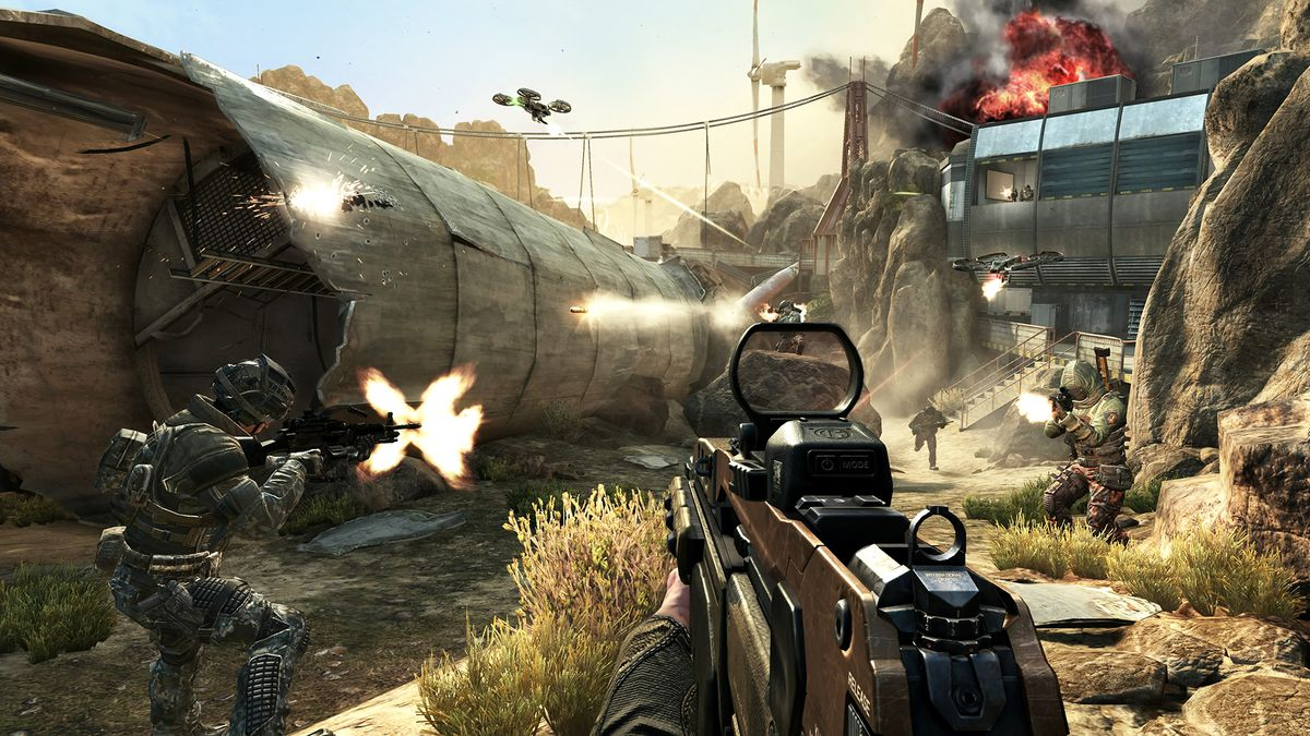 Call of Duty: Black Ops 2 - combat near the crashed plane on the Turbine multiplayer map