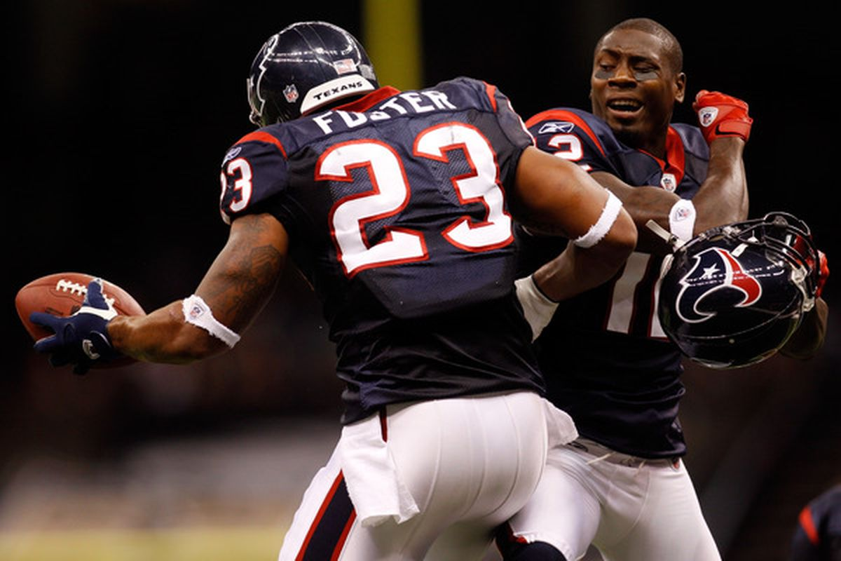 Jacoby Jones (right) seen here doing the funky chicken with Arian Foster.